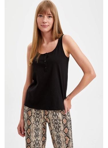 Defacto –Fit İnce Askılı Desenli Pijama Takımı Siyah